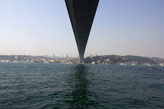 Connecting Asia and Europe. Bridge connecting Asian and European part of Istanbul in Turkey Royalty Free Stock Photos