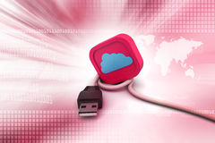 Connecting cable   with cloud Royalty Free Stock Photo