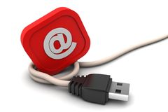 Connecting cable   with e mail sign Stock Photography