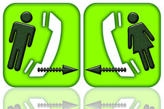 Connecting Couple. Of communicating phone icons with man, woman and arrows isolated over white background with reflection Stock Image