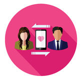 Connecting couple of lover flat icon Stock Photo