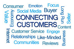 Connecting Customers Word Cloud Royalty Free Stock Photography