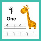 Connecting dot and printable numbers exercise. With lovely cartoon for preschool and kindergarten kids illustration, vector royalty free illustration