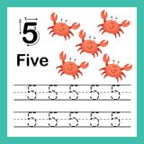 Connecting dot and printable numbers exercise. With lovely cartoon for preschool and kindergarten kids illustration, vector Stock Illustration