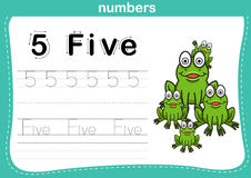 Connecting dot and printable numbers exercise. With lovely cartoon for preschool and kindergarten kids illustration, vector Royalty Free Stock Image