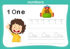 Connecting dot and printable numbers exercise for preschool and kindergarten kids royalty free illustration