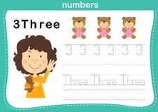 Connecting dot and printable numbers exercise for preschool and kindergarten kids vector illustration