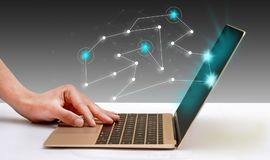 Connecting Dots on digital laptop display.  royalty free stock photo