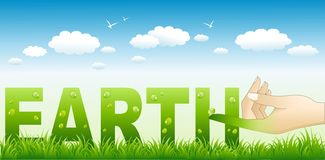 Connecting with the earth. Vector illustration of abstract earth with nature background Stock Photos