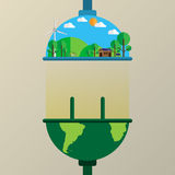 Connecting the earth to nature flat line style. Connecting the earth to nature flat line style with ecological and environmet concept.Vector illustration Royalty Free Stock Images
