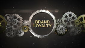 Connecting Gear wheels and make keyword, 'BRAND LOYALTY' stock video footage