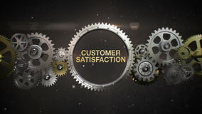 Connecting Gear wheels and make keyword, 'CUSTOMER SATISFACTION' stock video