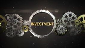 Connecting Gear wheels and make keyword, 'INVESTMENT' stock footage