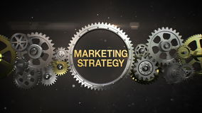 Connecting Gear wheels and make keyword, 'MARKETING STRATEGY' stock video
