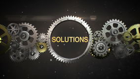 Connecting Gear wheels and make keyword, 'SOLUTION' stock video footage
