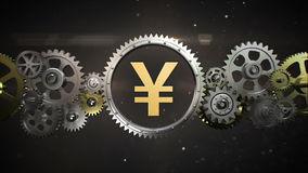Connecting Gear wheels, and make yen, money currency sign stock footage