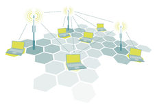 Connecting laptops / Wireless network Stock Photo