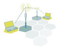 Connecting laptops / Wireless simple network communication. Connecting laptops or Wireless simple network communication Stock Images