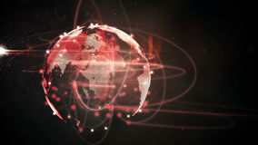 Connecting lines with earth graphic stock footage