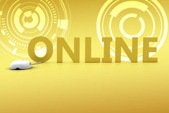 Connecting Online In Yellow Background  Royalty Free Stock Image