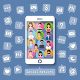 Connecting people via social network Stock Image