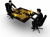 Connecting piece of the jigsaw. Render of two businessman connecting piece of the jigsaw Stock Image