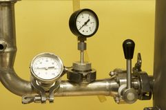 Connecting pipes and control elements Stock Image
