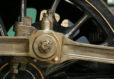 Connecting rod. On wheels of steam locomotive Stock Photos