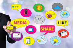 Connecting and Sharing Social Media people use connect. And Businessman drawing Landing Page on white background stock photography