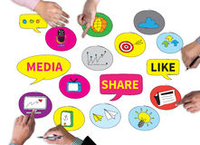 Connecting and Sharing Social Media people use connect. Businessman work on white broad, top view royalty free stock photo