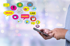 Connecting and Sharing Social Media people use connect Royalty Free Stock Photo