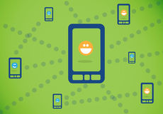 Connecting smartphones. Connectivity smartphones for users in a social network for chatting and texting Stock Photography