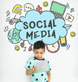 Connecting Social Media Communication Concept. Connecting Social Media Communication Technology stock photography