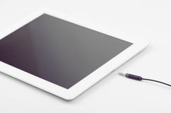 Connecting Stereo Jack To Tablet Device. That Does Not Have Jack Port Close Up Stock Image
