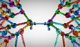 Connecting Teams And Business Link. Connecting teams and connected group concept as many different ropes tied and linked together as an unbreakable chain as stock illustration
