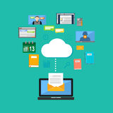 Connecting to cloud computing concept. Accessing cloud contents. Multimedia internet contents.  Stock Image