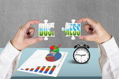 Connecting two puzzles for green business Royalty Free Stock Photography