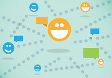 Connecting users. Connectivity for users in a social network for chatting and texting Stock Images