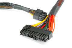 Connecting wires to a computer. On a white background Royalty Free Stock Images