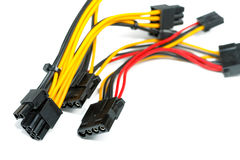Connecting wires to a computer. On a white background Stock Photos