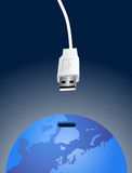 Connecting the world. Vector illustration of a usb cable connecting the world as device, cool idea for networks, media, communication and updating news related stock illustration