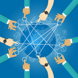 Connecting world building transportation network globe collaboration team work interconnection Stock Image