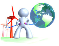 Connecting the world into renewable energy Stock Photos