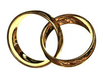 Connection. Connected gold glossy rings reflection Royalty Free Stock Images