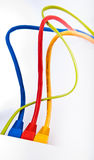 Connection. Different color cable connecting in link Royalty Free Stock Photos
