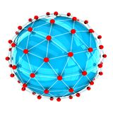 Connection. The blue sphere in the network on a white background stock illustration