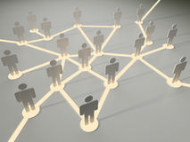 Connection. Concept. Group of people all connected with glowing links in chaotic way Stock Images
