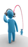 Connection. Two human figures wearing headphone with microphone, connected with each other through wire. Concept of internet voice over IP connection or team Royalty Free Stock Photography