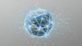 Connection around a world globe on a background 3d rend. View of a Connection around a world globe on a background 3d rendering royalty free stock image