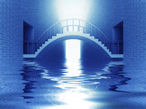 Connection bridge arch over river in blue light Royalty Free Stock Photo